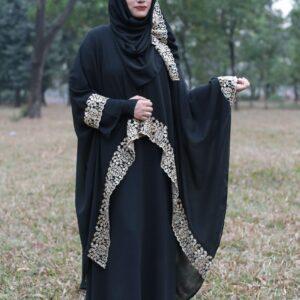 Arabic 3 part Ambrodari Abaya With Hijab 3027 Black